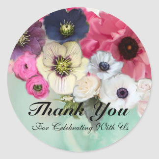 PINK ROSES AND ANEMONE FLOWERS Thank you Classic Round Sticker