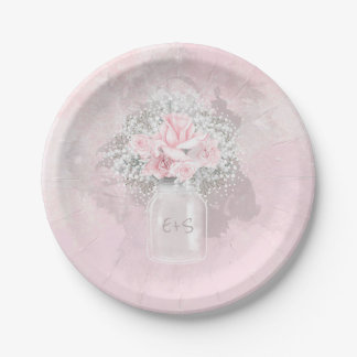 Pink Roses and Baby's Breath Wedding Paper Plate