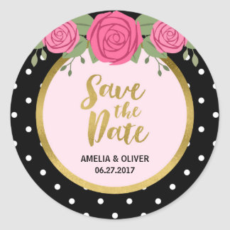 Pink Roses and Black White Polka Dot Save the Date Classic Round Sticker