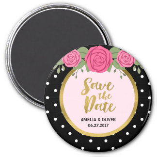 Pink Roses and Black White Polka Dot Save the Date Magnet