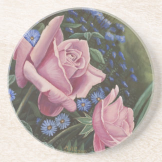 Pink Roses And Blue Flowers floral coasters