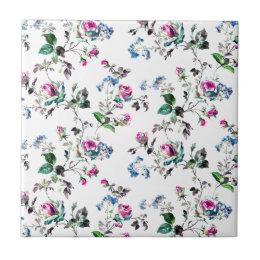 Pink Roses and Blue Flowers Floral Design Ceramic Tile