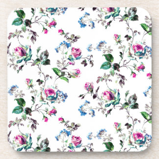 Pink Roses and Blue Flowers Floral Design Coaster