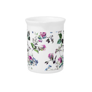 Pink Roses and Blue Flowers Floral Design Pitcher