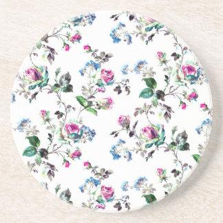 Pink Roses and Blue Flowers Floral Design Sandstone Coaster