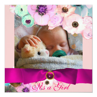 PINK ROSES AND BOW BABY SHOWER PHOTO TEMPLATE