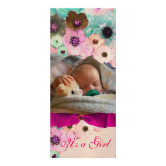 PINK ROSES AND BOW BABY SHOWER PHOTO TEMPLATE CUSTOM INVITATIONS