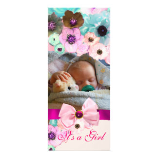 PINK ROSES AND BOW BABY SHOWER PHOTO TEMPLATE PERSONALIZED ANNOUNCEMENTS