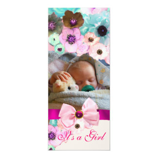 """PINK ROSES AND BOW, BABY SHOWER PHOTO TEMPLATE 4"""" X 9.25"""" INVITATION CARD"""