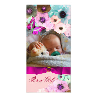 PINK ROSES AND BUTTERFLY NEW BABY PHOTO TEMPLATE PHOTO CARD