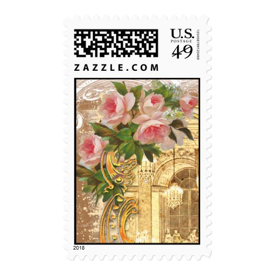 Pink Roses and Chandelier Postage Stamps
