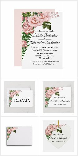 Pink Roses and Ferns Wedding