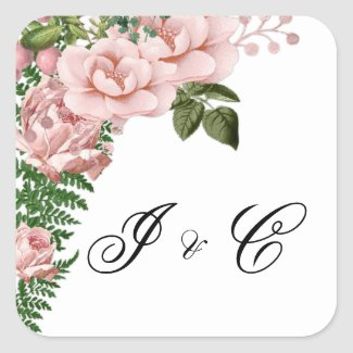 Pink Roses and Ferns Wedding Square Sticker