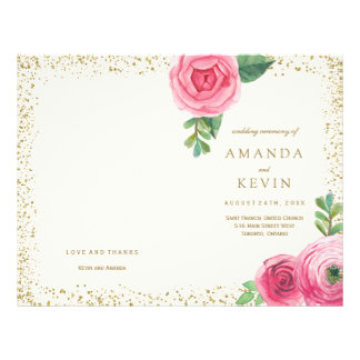Pink Roses and Gold Glitter Wedding Programs