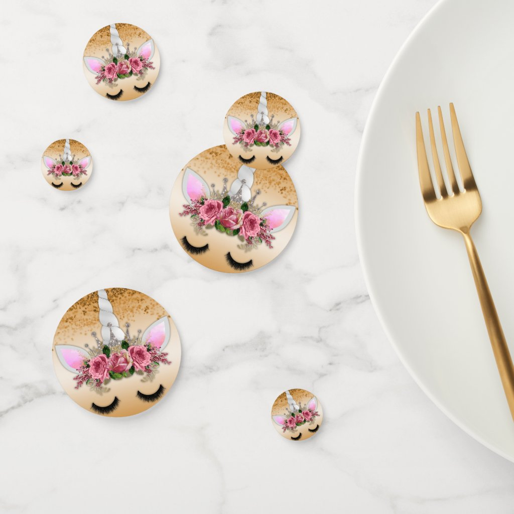 Pink Roses and Gold Unicorn Confetti