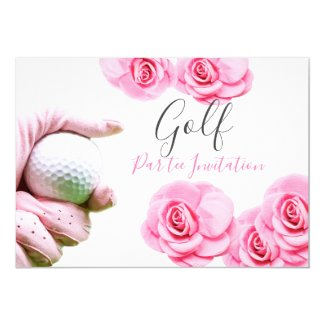 Pink roses and golf ball invitation