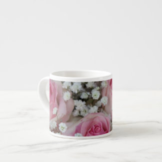 pink roses and gypsophila by Therosegarden Espresso Cup