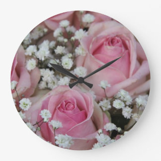 pink roses and gypsophila by Therosegarden Large Clock