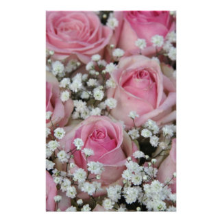 pink roses and gypsophila by Therosegarden Stationery