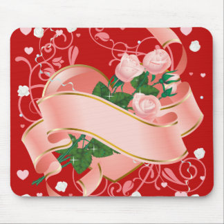 Pink Roses and Heart for Valentine's Day Mouse Pad