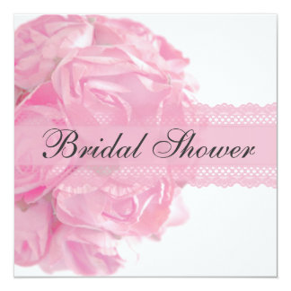 Pink Roses and Lace Bridal Shower Invitation