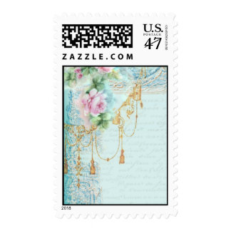 Pink Roses and Lace Postage Stamps