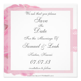 Pink Roses and Lace Save The Date Announcement