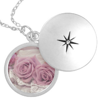 Pink Roses And Lace Still Life Pendant Locket