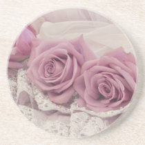 Pink Roses And Lace Still Life Sandstone Coaster
