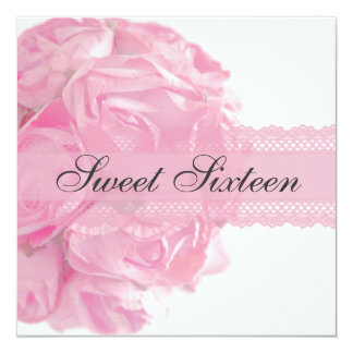 Pink Roses and Lace Sweet Sixteen Birthday Party Card