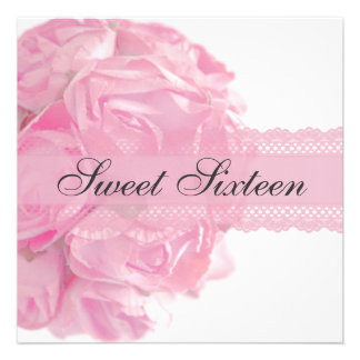 Pink Roses and Lace Sweet Sixteen Birthday Party Announcements