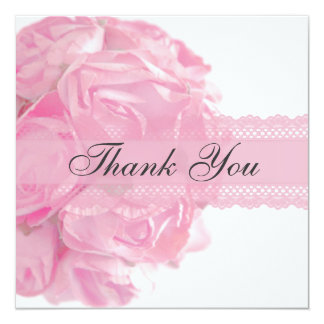 Pink Roses and Lace Thank You Card