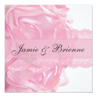 Pink Roses and Lace Wedding Invitation