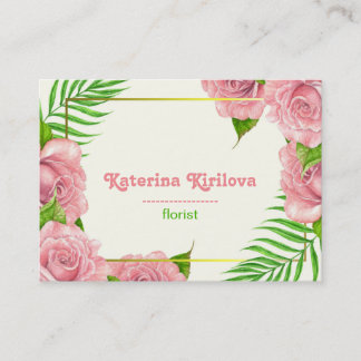 Pink roses and palm leaves business card