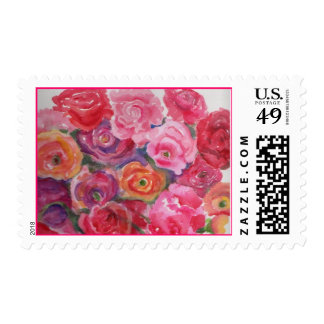 Pink Roses and Peonies Painting Postage Stamp