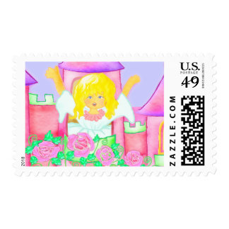 Pink roses and princes postage stamps