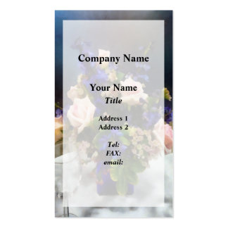 Pink Roses and Purple Delphinium Double-Sided Standard Business Cards (Pack Of 100)