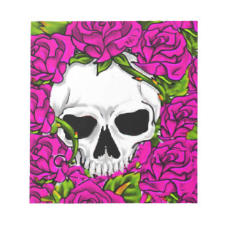 Pink Roses And Skull Notepad
