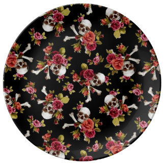 Pink Roses and Skulls Dinner Plate