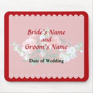 Pink Roses and Snapdragon Wedding Favors Mouse Pad