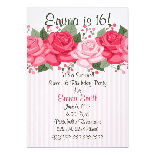 Pink Roses and Stripes Birthday Party Invitation  Zazzle