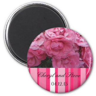 Pink Roses and Stripes Save the Date Magnet