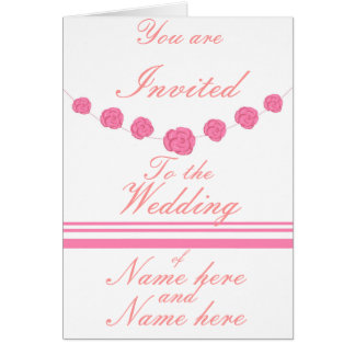 Pink Roses and Stripes Wedding invitations custom