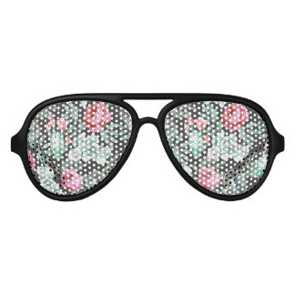Pink Roses and Succulent Cactus Pattern on Black Aviator Sunglasses
