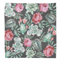 Pink Roses and Succulent Cactus Pattern on Black Bandana