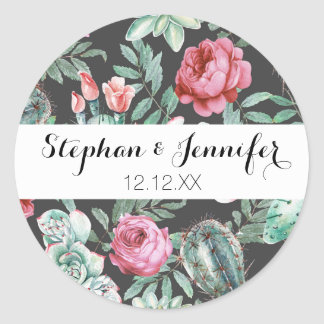 Pink Roses and Succulent Cactus Pattern on Black Classic Round Sticker