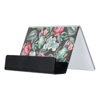 Pink Roses and Succulent Cactus Pattern on Black Desk Business Card Holder