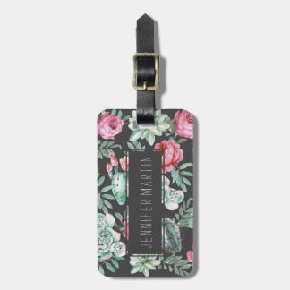 Pink Roses and Succulent Cactus Pattern on Black Luggage Tag