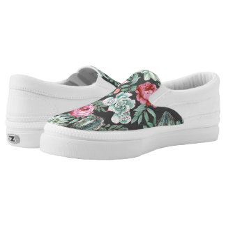 Pink Roses and Succulent Cactus Pattern on Black Slip-On Sneakers