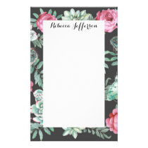 Pink Roses and Succulent Cactus Pattern on Black Stationery